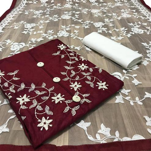 Flaunt Maroon Colored Partywear Embroidered Cotton Dress Material