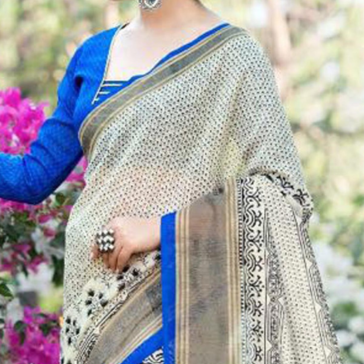 Mullticolor Cotton Printed Saree