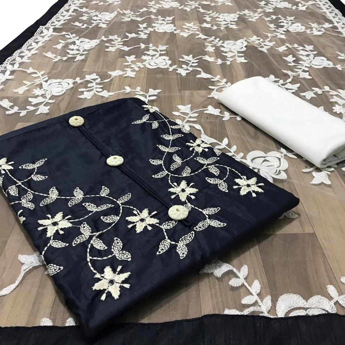 Flirty Navy Blue Colored Partywear Embroidered Cotton Dress Material