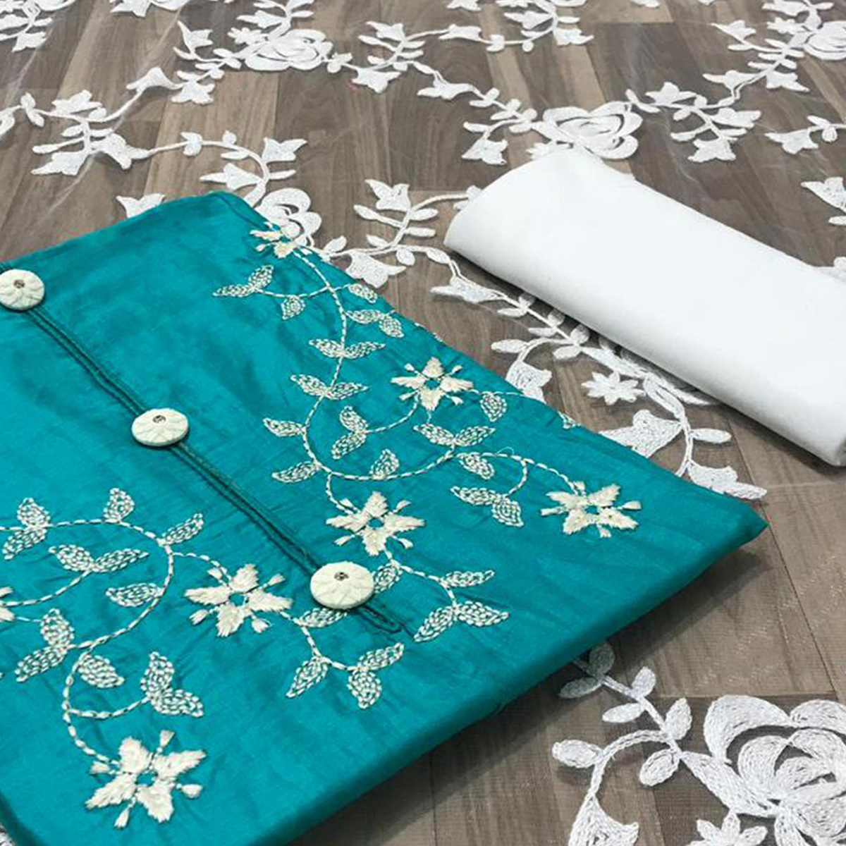 Gorgeous Sky Blue Colored Partywear Embroidered Cotton Dress Material
