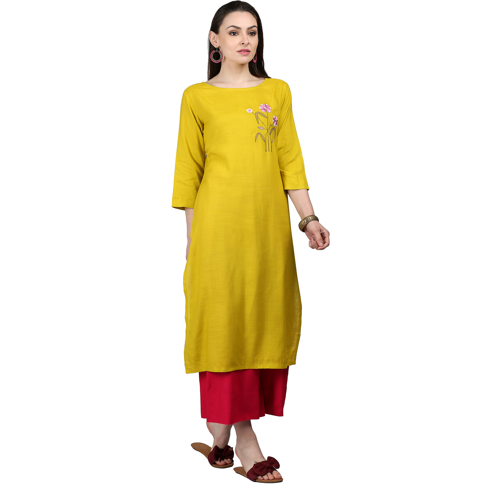 Mesmeric Yellow Colored Casual Embroidered Rayon Kurti