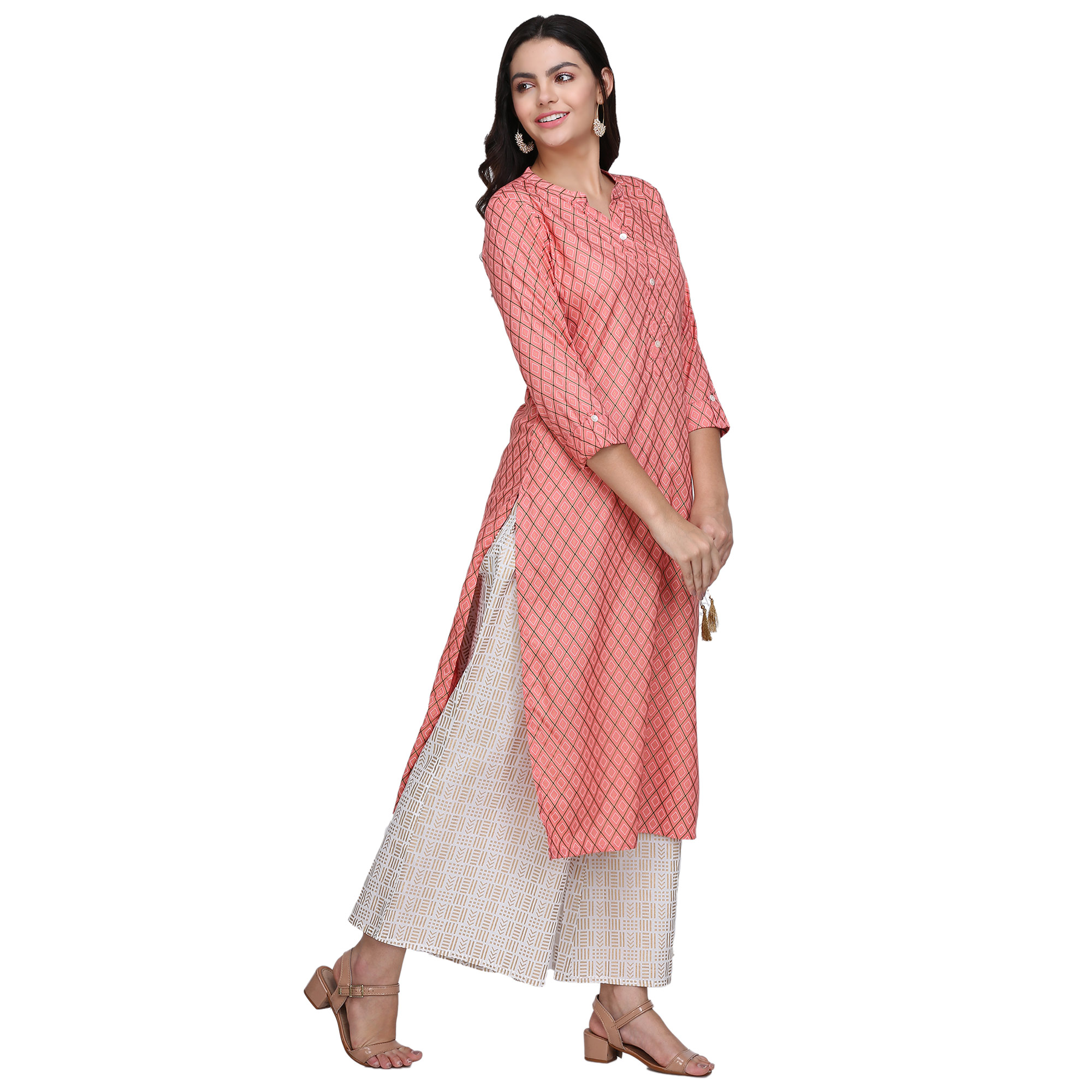 Unique Pink Colored Casual Printed Rayon Kurti