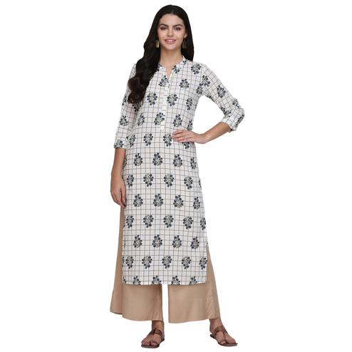 Demanding White Colored Casual Printed Cotton Kurti