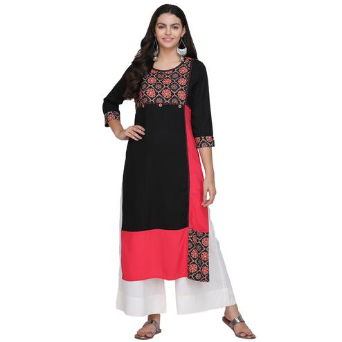 Arresting Black Colored Casual Printed Cotton Kurti