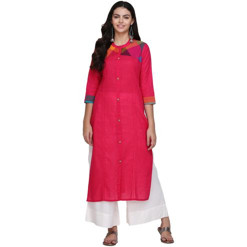 Magnetic Pink Colored Casual Wear Cotton Kurti
