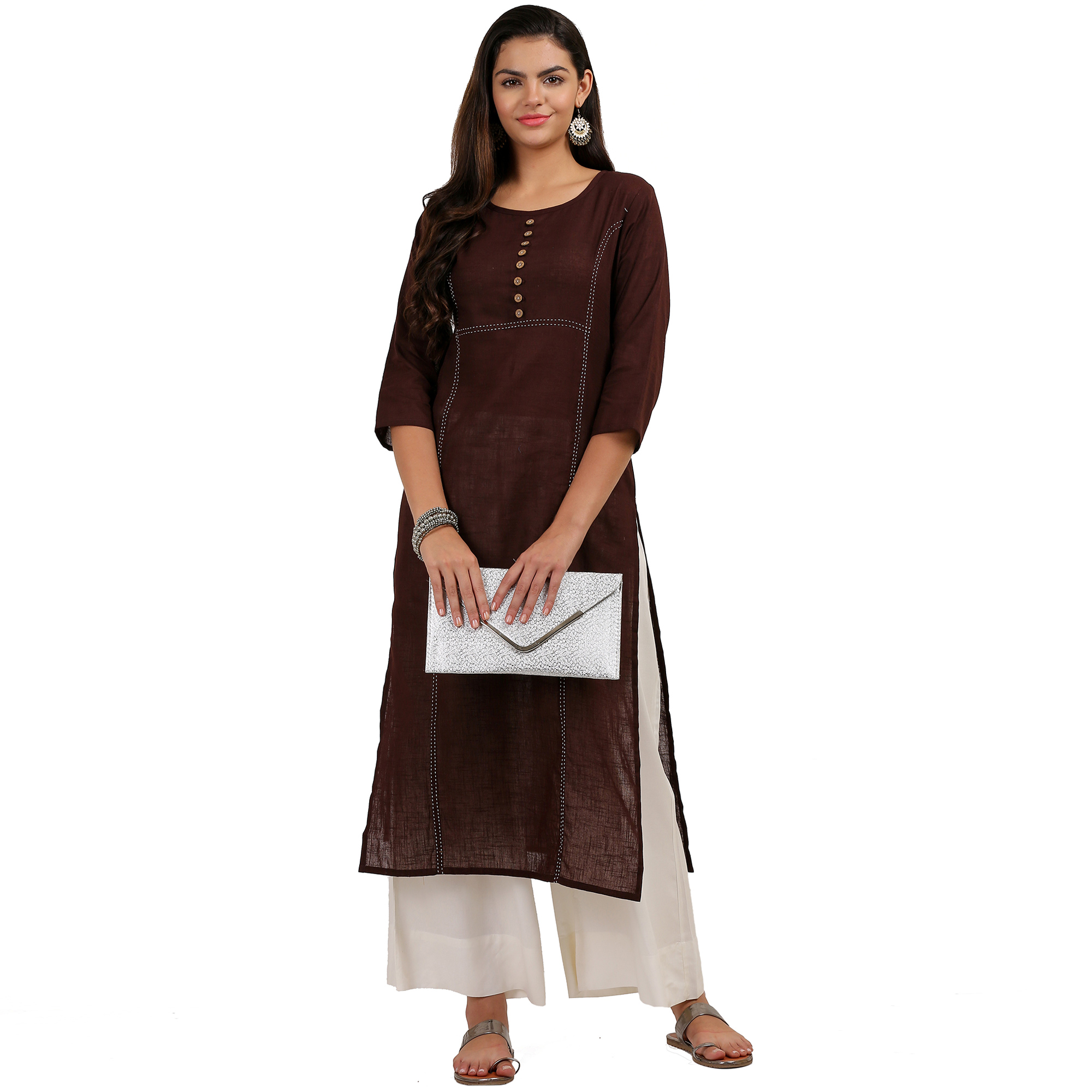 Hypnotic Dark Brown Colored Casual Wear Cotton Kurti