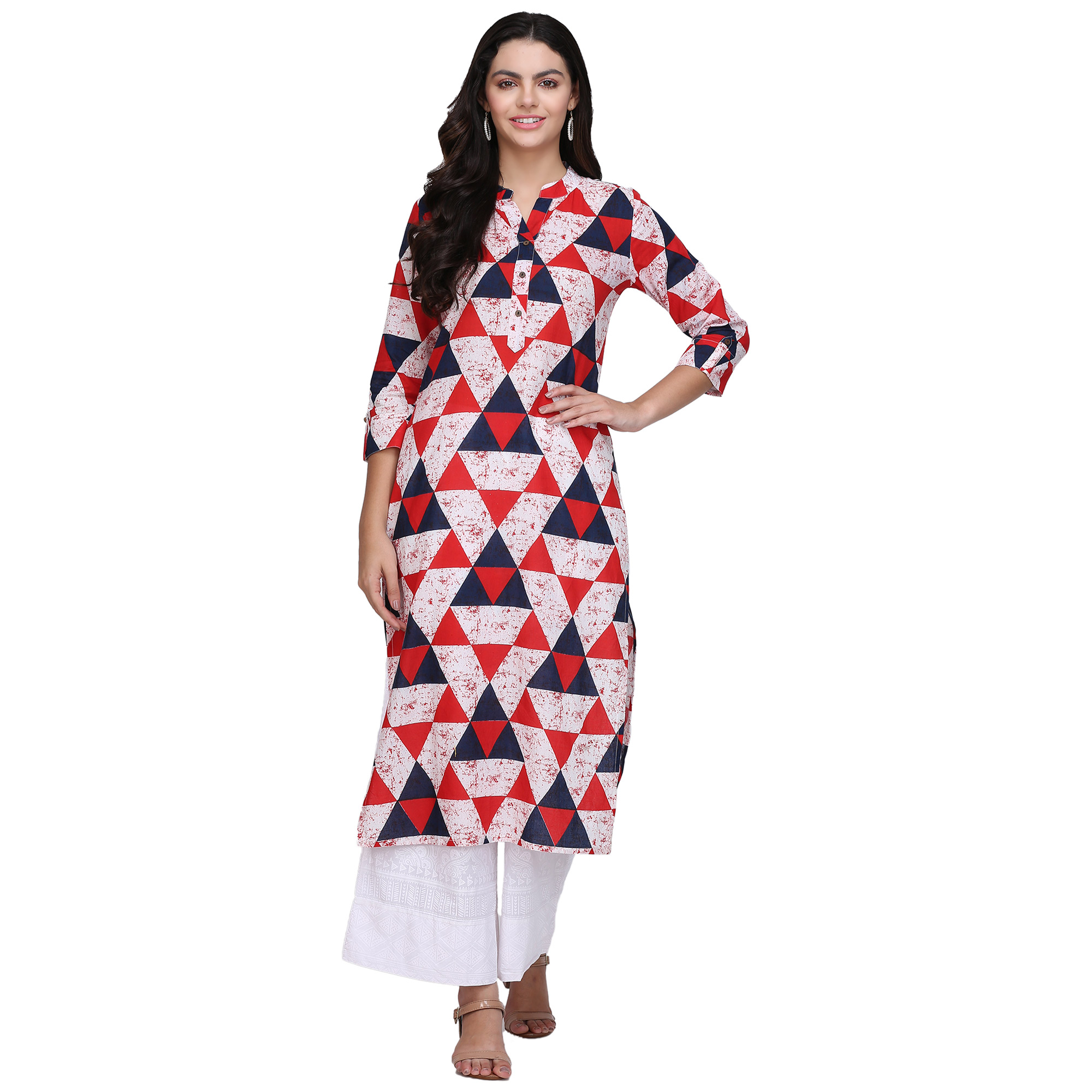 Flattering Multi Colored Casual Printed Cotton Kurti