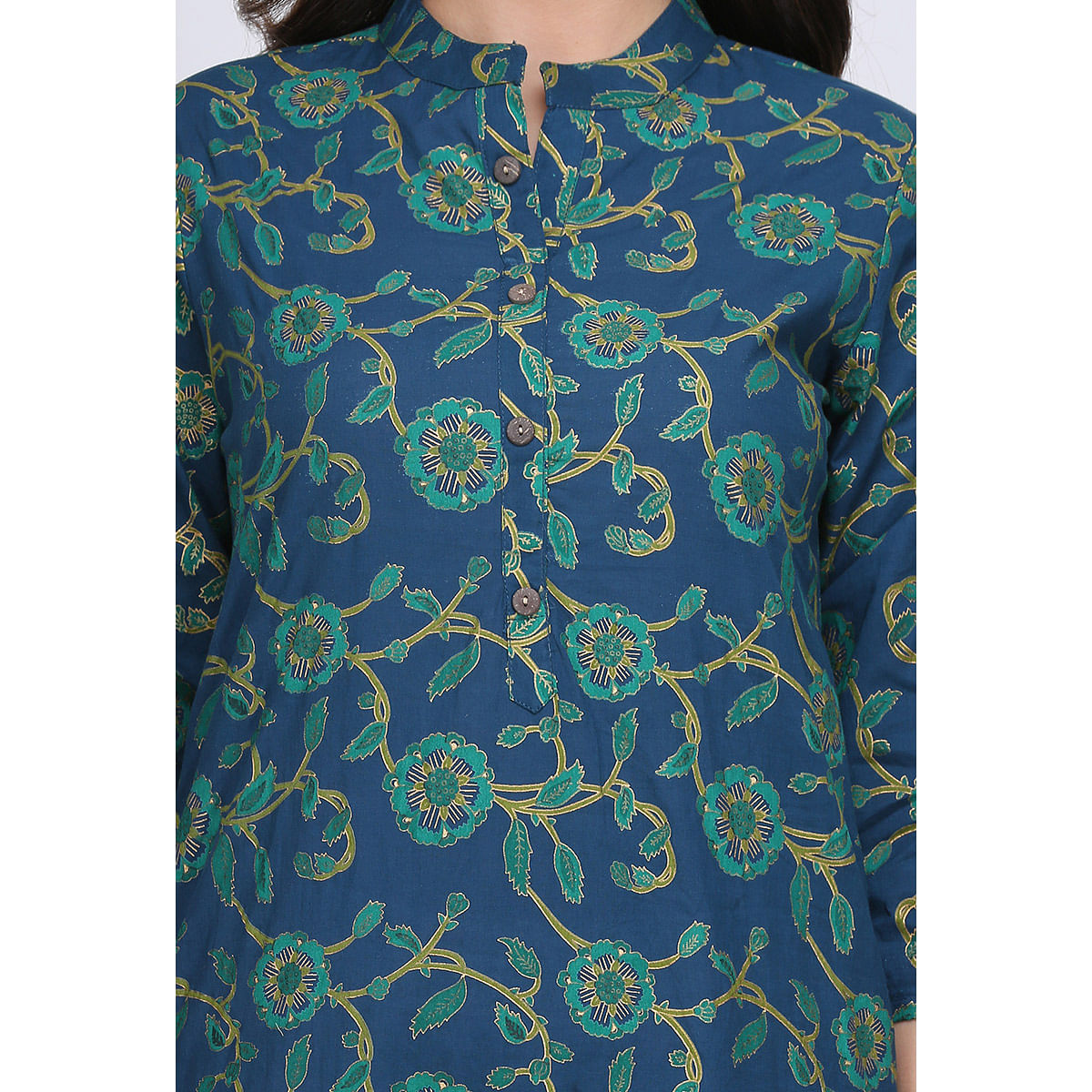 Excellent Blue Colored Casual Printed Cotton Kurti
