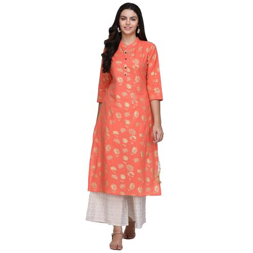 Preferable Peach Colored Casual Printed Cotton Kurti