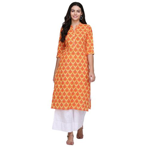 Marvellous Orange Colored Casual Printed Cotton Kurti