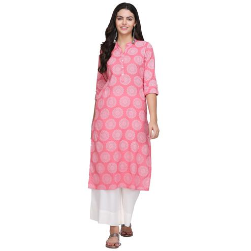 Flamboyant Pink Colored Casual Printed Cotton Kurti