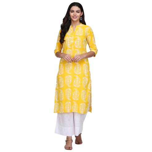 Pretty Yellow Colored Casual Printed Cotton Kurti