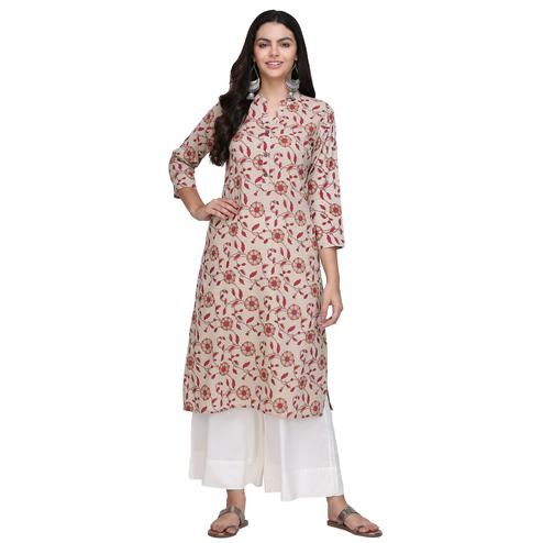 Alluring Off White Colored Casual Printed Cotton Kurti