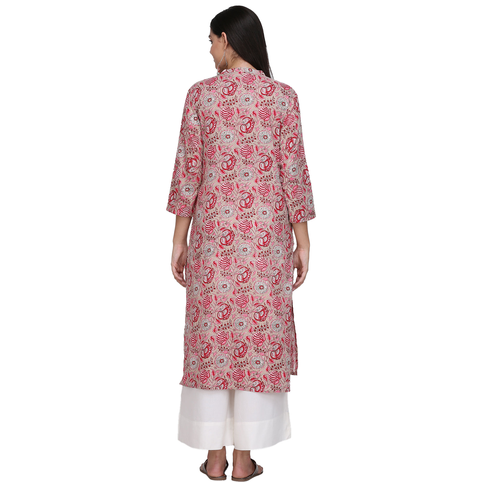 Sensational Pink Colored Casual Printed Cotton Kurti