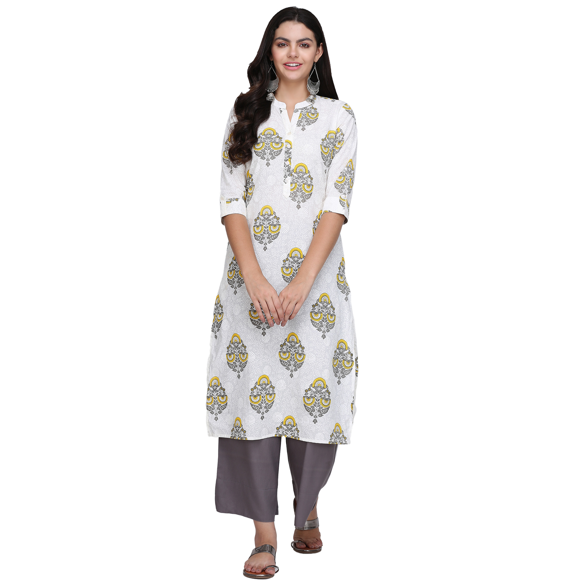Flaunt White Colored Casual Printed Cotton Kurti