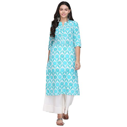 Stunning Sky Blue Colored Casual Printed Cotton Kurti