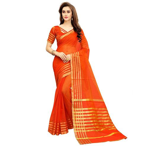 Elegant Orange Colored Festive Wear Kota Silk Saree
