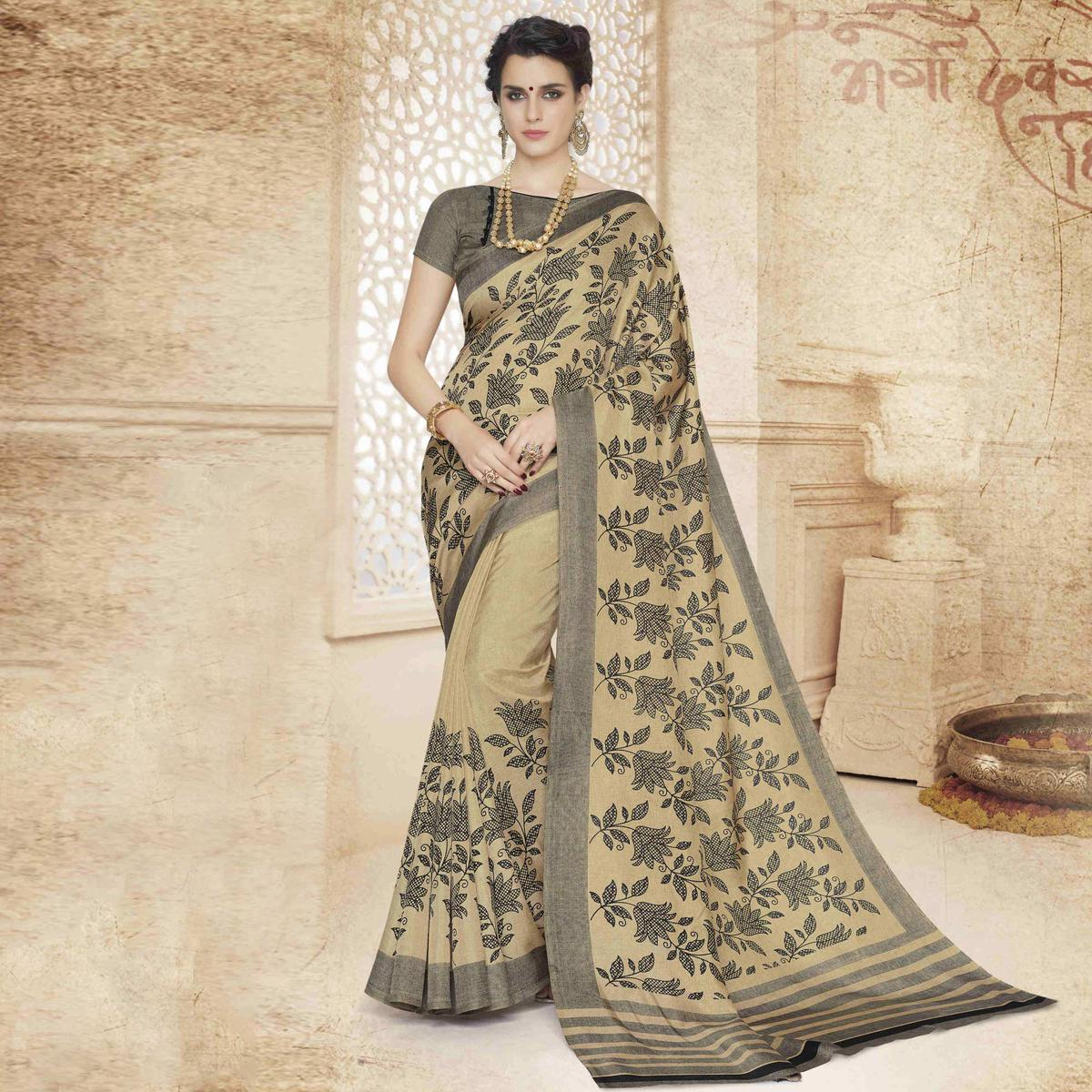Beige - Black Floral Printed Saree