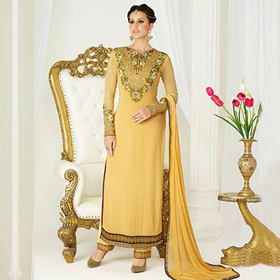 Yellow Party Wear Embroidered Suit
