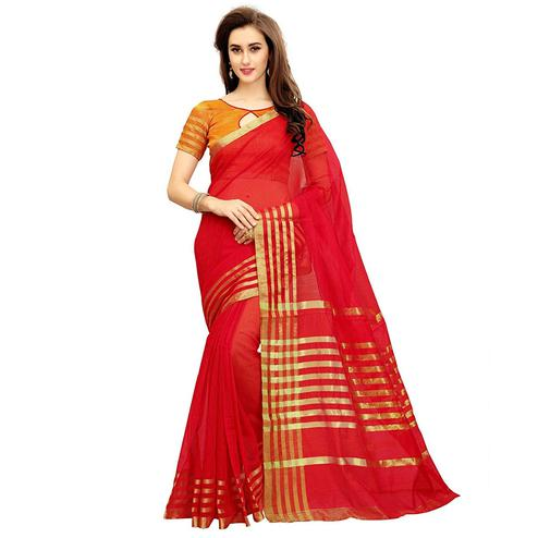 Radiant Red Colored Festive Wear Kota Silk Saree