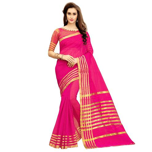 Pleasant Deep Pink Colored Festive Wear Kota Silk Saree