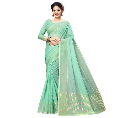 Gleaming Sea Green Colored Festive Wear Kota Silk Saree