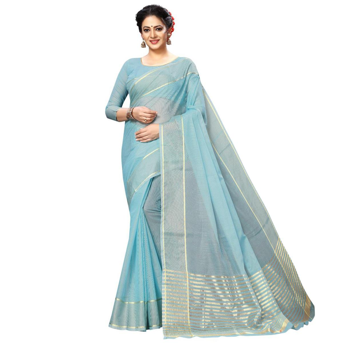 Mesmeric Stone Blue Colored Festive Wear Kota Silk Saree