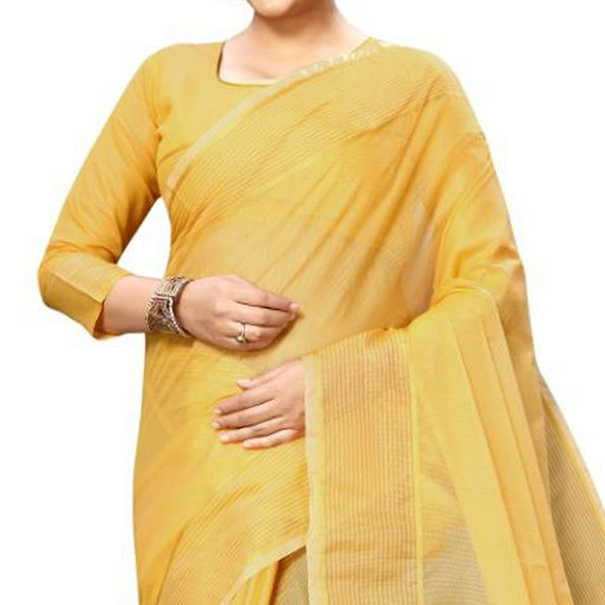 Unique Yellow Colored Festive Wear Kota Silk Saree