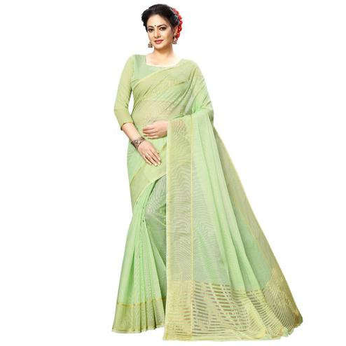 Demanding Light Green Colored Festive Wear Kota Silk Saree
