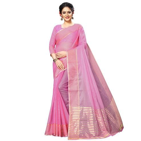 Refreshing Pink Colored Festive Wear Kota Silk Saree