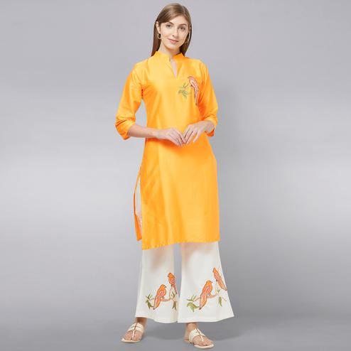 Prominent Yellow Colored Partywear Embroidered Cotton Kurti-Palazzo Set