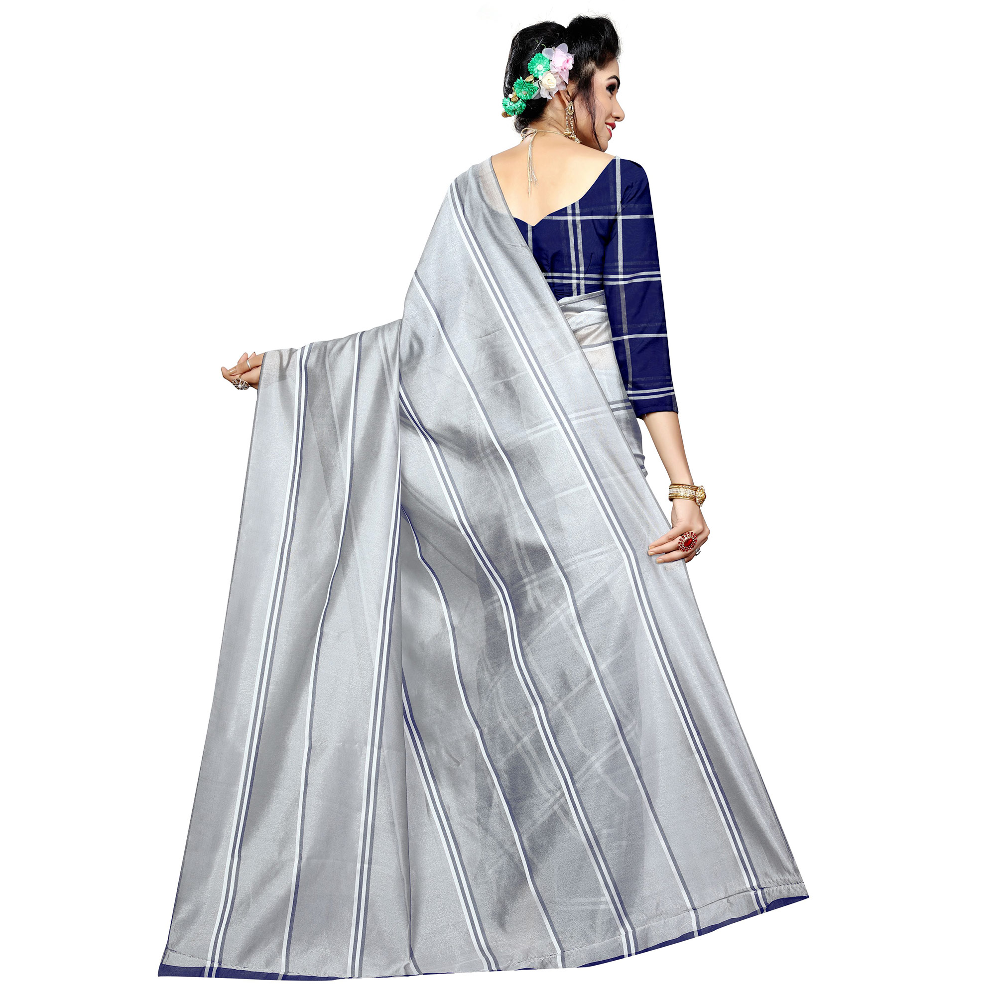 Desirable Blue-Gray Colored Casual Printed Poly Cotton Half-Half Saree