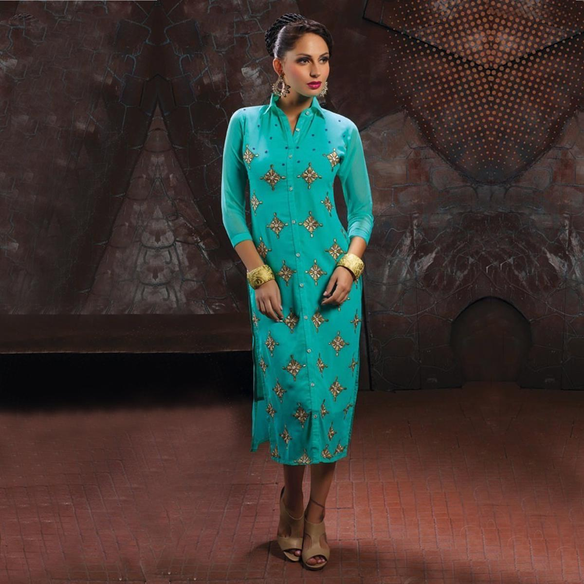 Turquoise Party Wear Designer Kurti