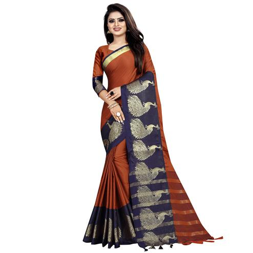 Pleasant Brown Colored Festive Wear Woven Cotton Saree