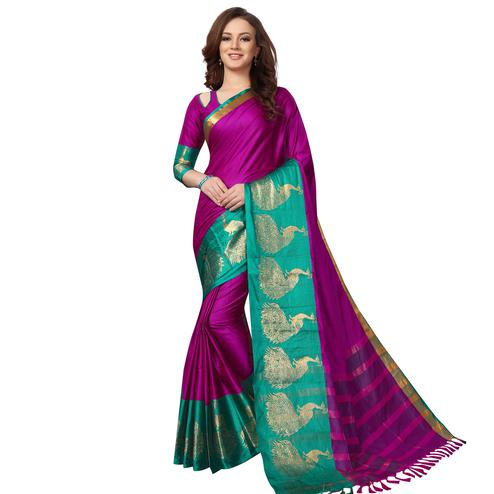 Opulent Pink Colored Festive Wear Woven Cotton Saree