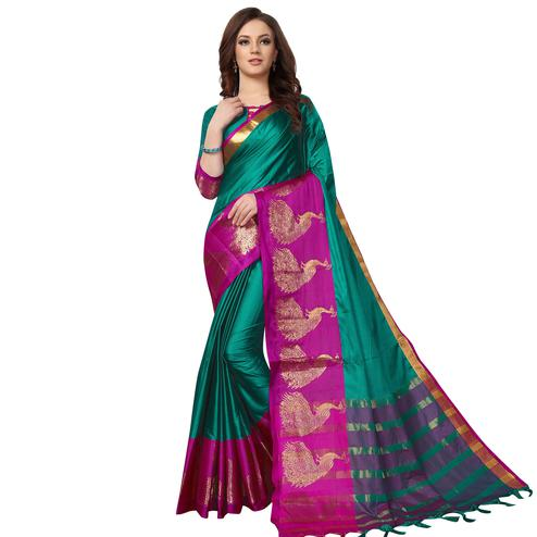 Energetic Rama Green Colored Festive Wear Woven Cotton Saree