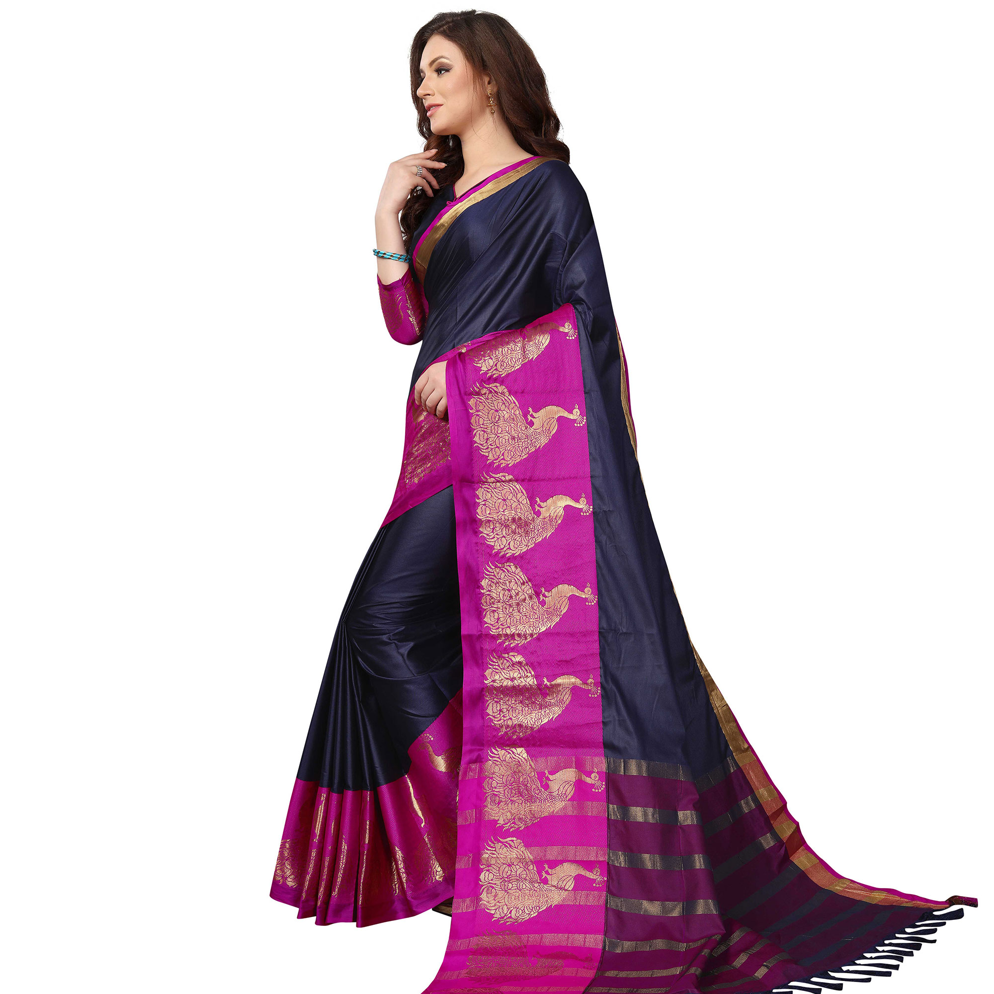 Glowing Navy Blue Colored Festive Wear Woven Cotton Saree