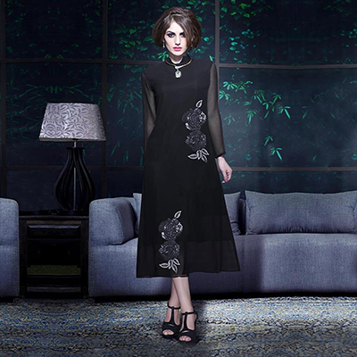 Black High Neck Embroidered Kurti