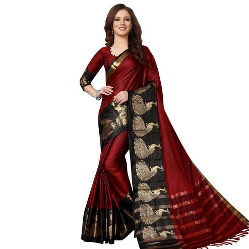 Gleaming Maroon Colored Festive Wear Woven Cotton Saree