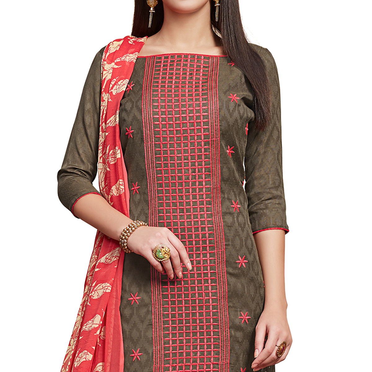 Trendy Gray Colored Partywear Embroidered Jacquard Dress Material