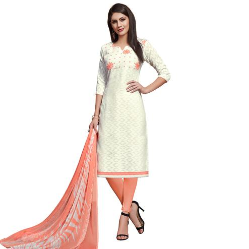 Elegant White Colored Partywear Embroidered Jacquard Dress Material