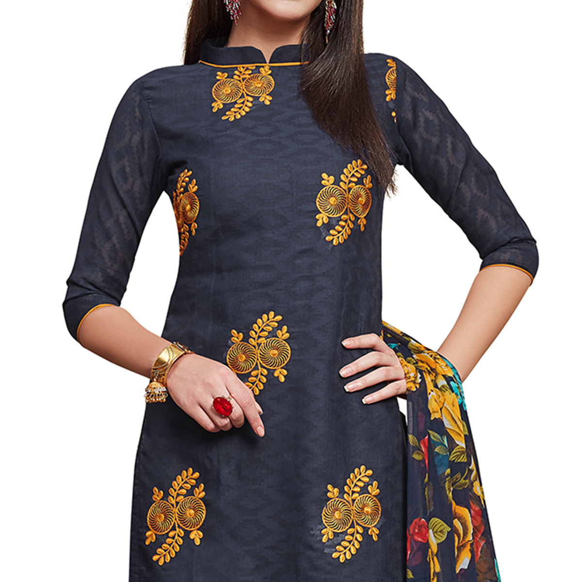 Radiant Navy Blue Colored Partywear Embroidered Jacquard Dress Material