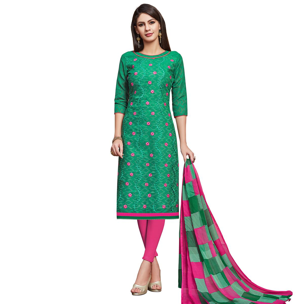 Pleasant Green Colored Partywear Embroidered Jacquard Dress Material