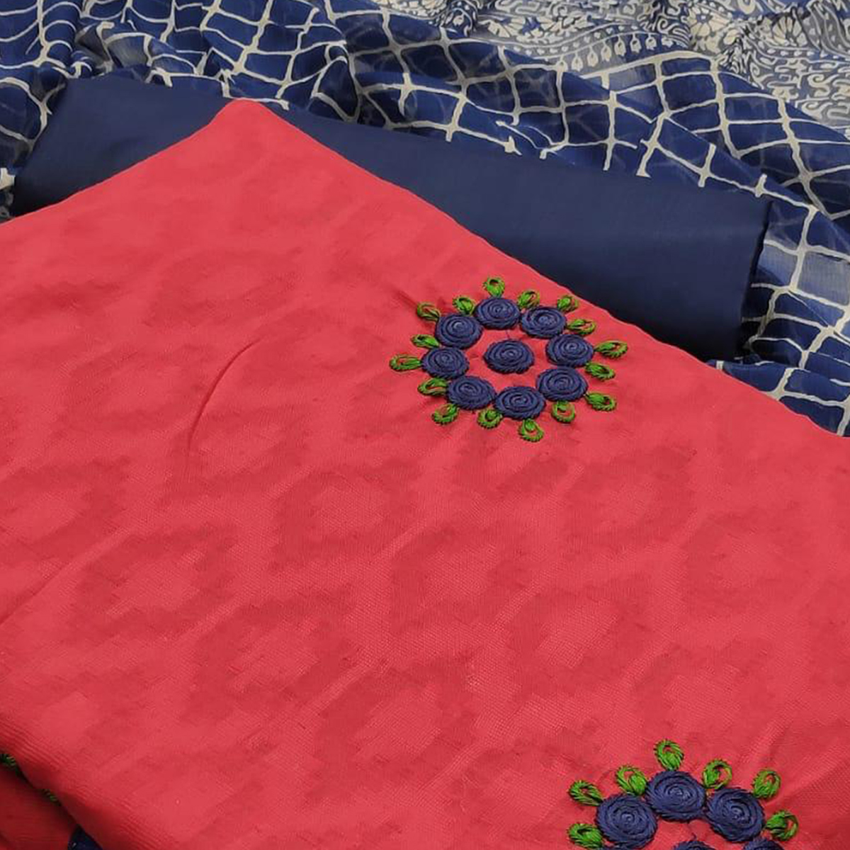 Opulent Red Colored Partywear Embroidered Jacquard Dress Material