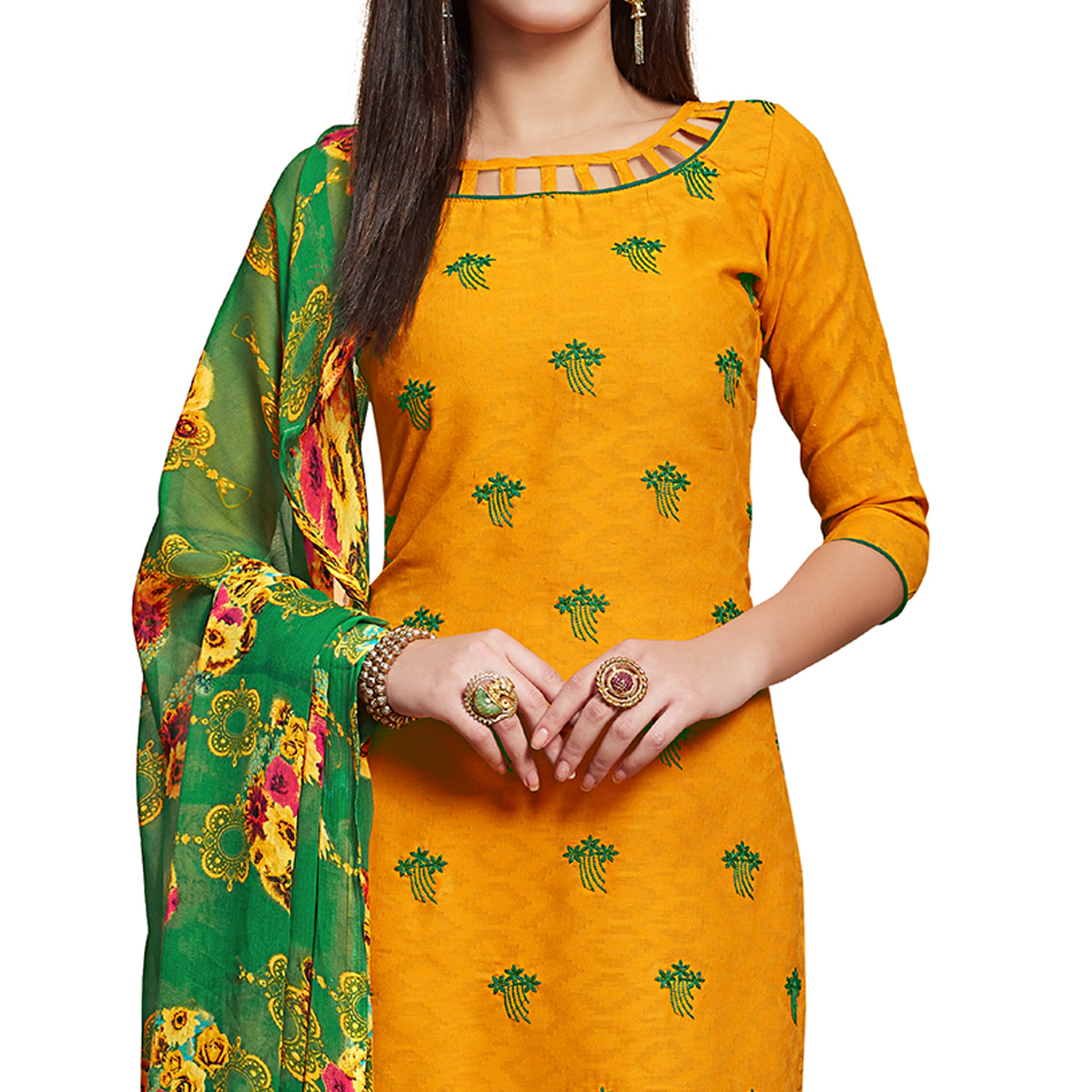 Glowing Yellow Colored Partywear Embroidered Jacquard Dress Material
