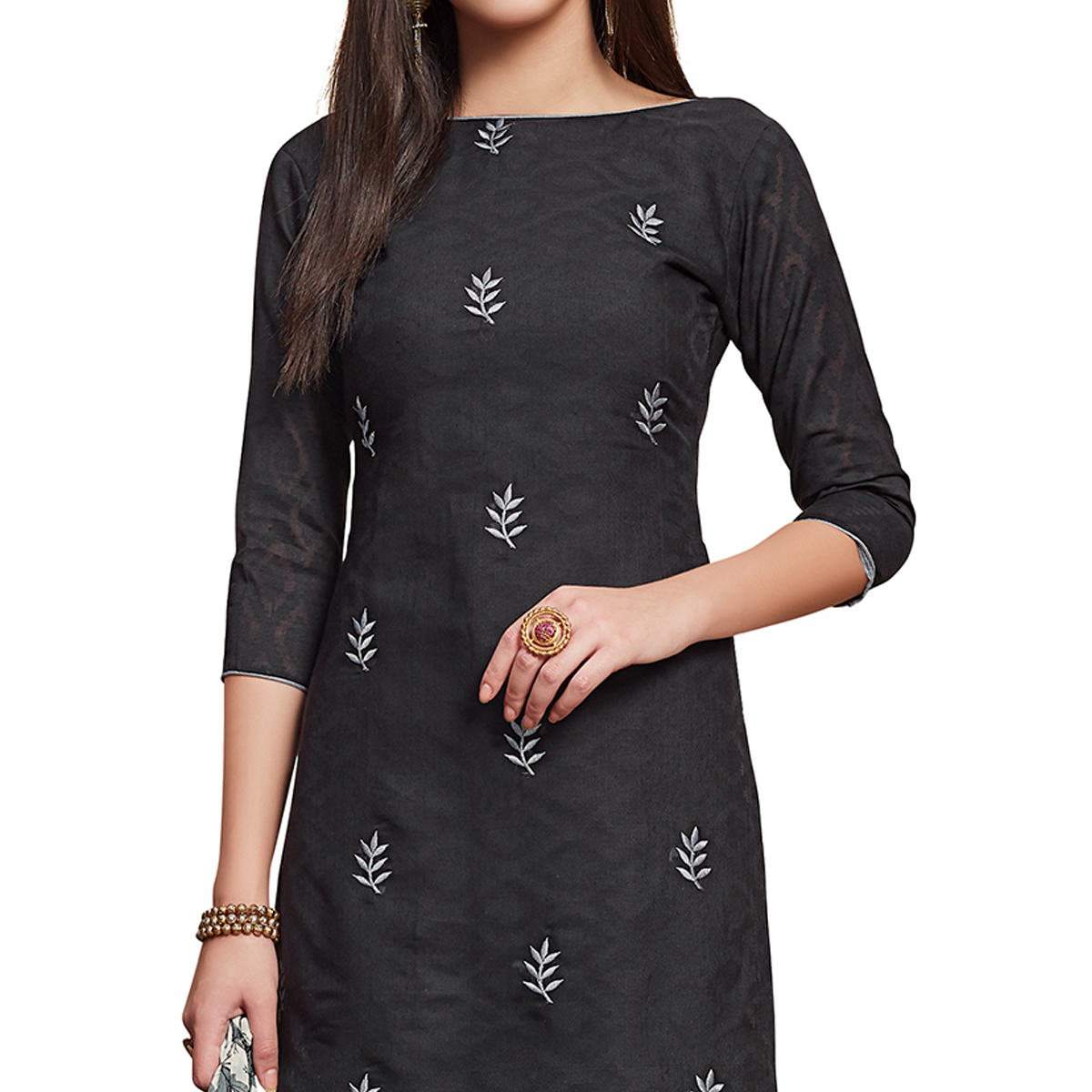 Exceptional Black Colored Partywear Embroidered Jacquard Dress Material