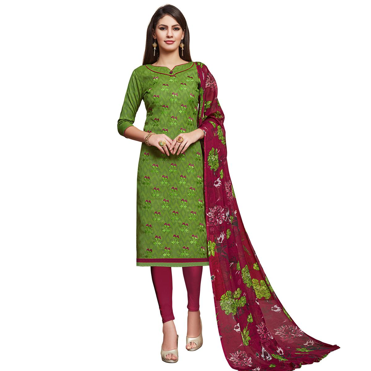 Gleaming Light Green Colored Partywear Embroidered Jacquard Dress Material