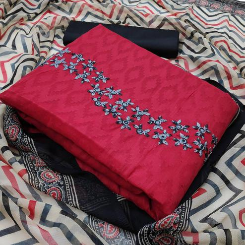 Mesmeric Coral Red Colored Partywear Embroidered Jacquard Dress Material