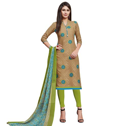 Unique Chiku Colored Partywear Embroidered Jacquard Dress Material