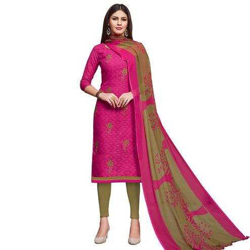 Refreshing Pink Colored Partywear Embroidered Jacquard Dress Material